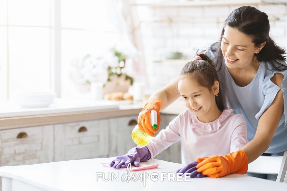 mom and daughter doing chores, from Fun Cheap or Free
