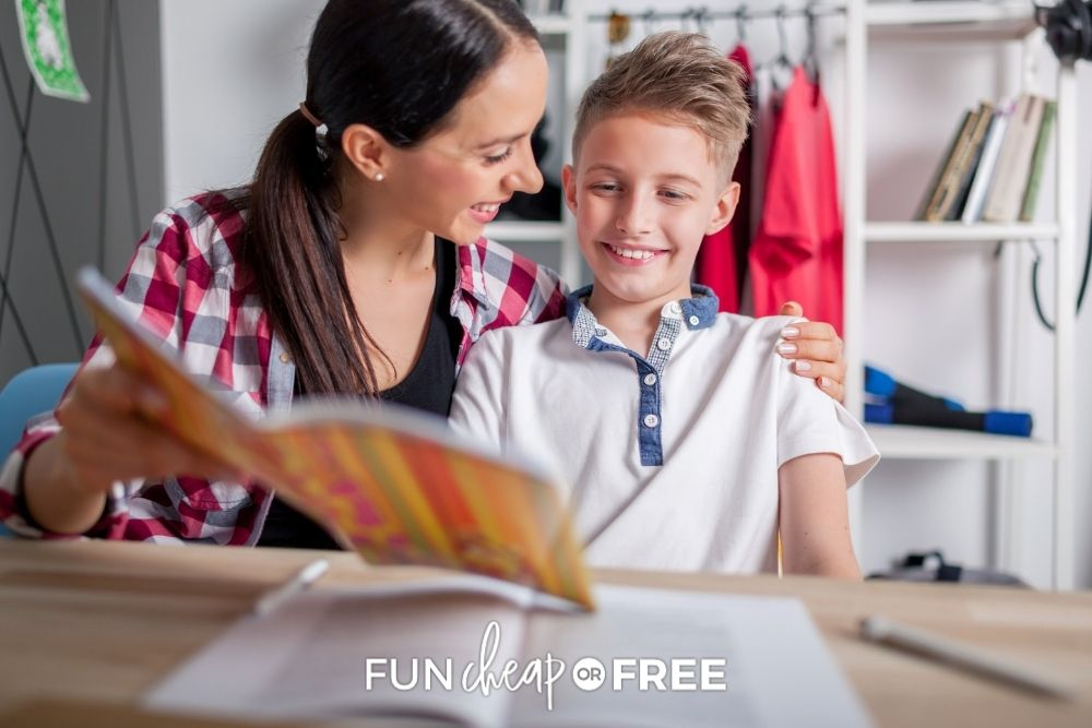mom and son doing school work together, from Fun Cheap or Free