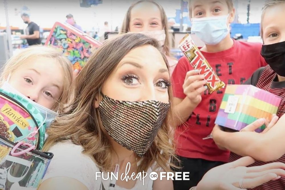 Jordan Page & family shopping for school supplies, from Fun Cheap or Free
