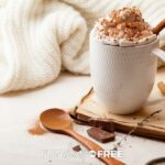 Mexican hot chocolate in a mug with a cinnamon stick from Fun Cheap or Free.
