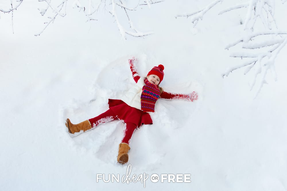 little girl making snow angel, from Fun Cheap or Free