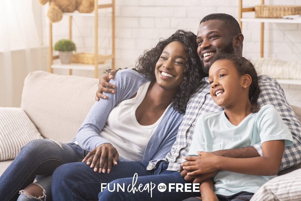 family cuddling on couch, from Fun Cheap or Free