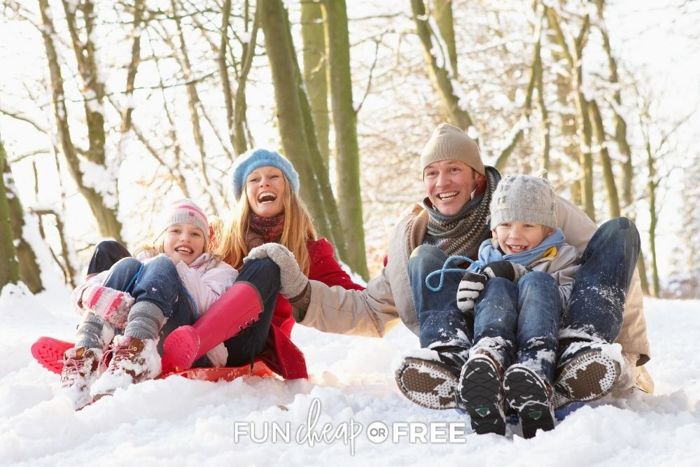 family sledding in the snow, from Fun Cheap or Free