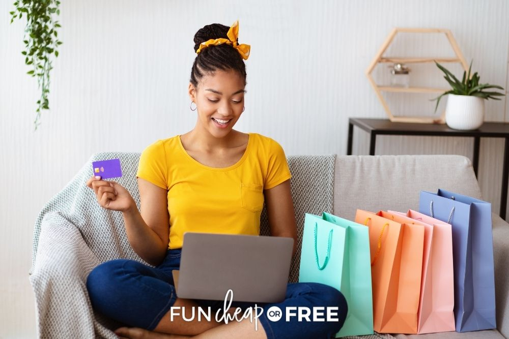 woman shopping online with gift cards, from Fun Cheap or Free
