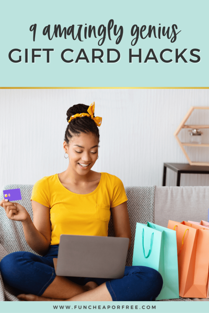 Woman using gift card on a computer, from Fun Cheap or Free