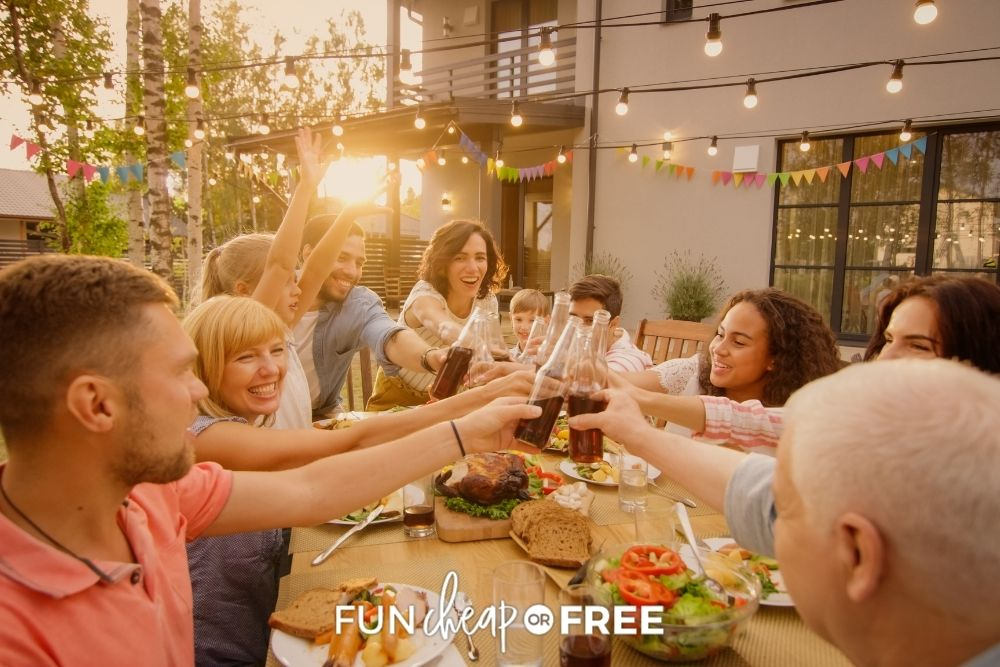 Group of friends gathered around a table from Fun Cheap or Free.