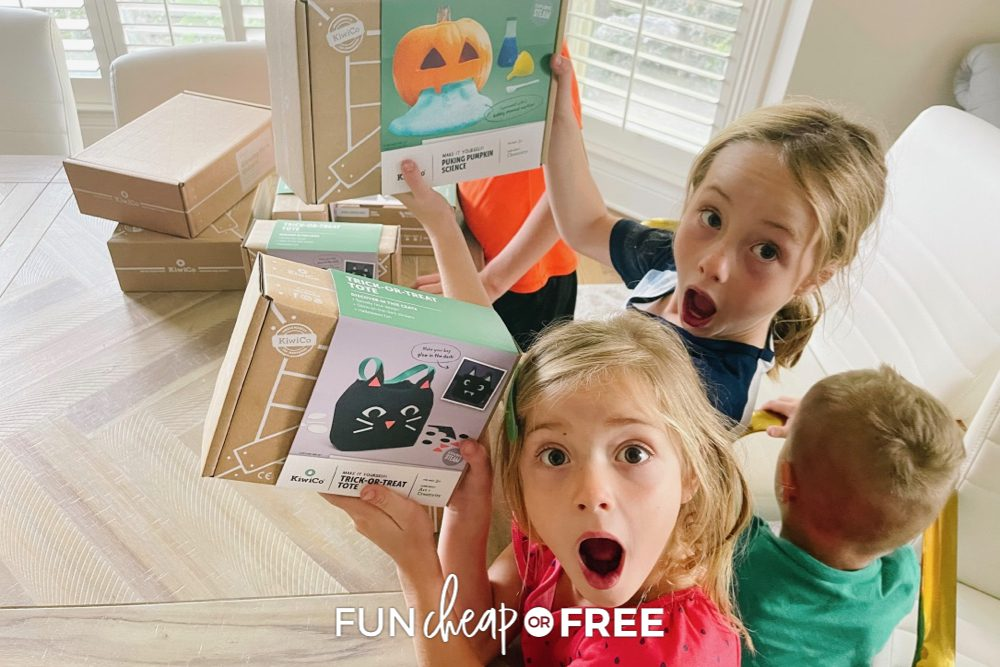 Excited kids with Kiwi Co Activity boxes from Fun Cheap or Free